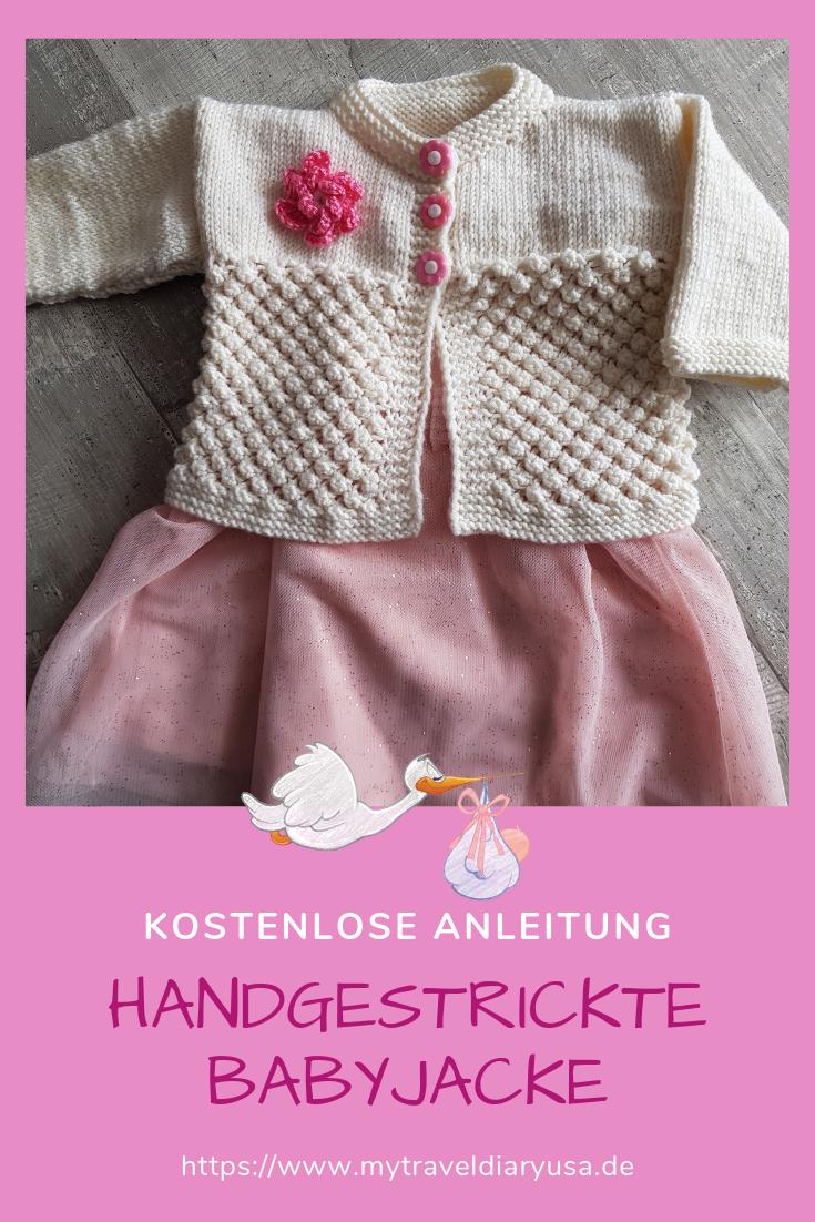 Photo of Handgestrickte Babyjacke im Brombeermuster mit Häkelblume!
