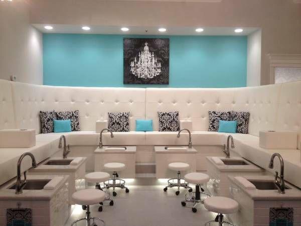 Aqua Salon Decor Google Search Nail Salon Decor Salon Interior Design Nail Salon Design