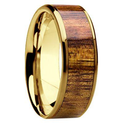 Yellow Gold Hawaiian KOA Wood Inlay