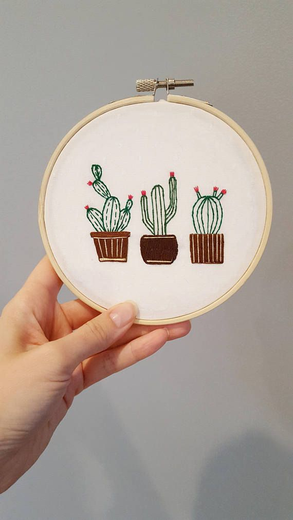 Cactus Embroidery DIY Kit - Hand Embroidery Kit - Hoop Art Kit #embroidery