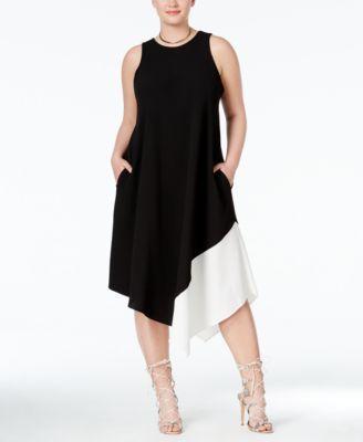 5266f18ede5 RACHEL Rachel Roy Curvy Plus Size Colorblocked Handkerchief-Hem Dress