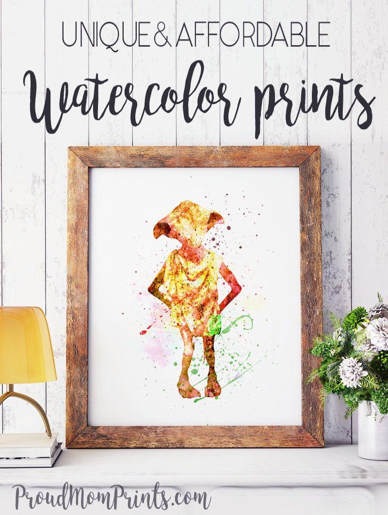 HARRY POTTER DOBBY Print Poster Watercolour Framed Canvas Wall Art Nursery