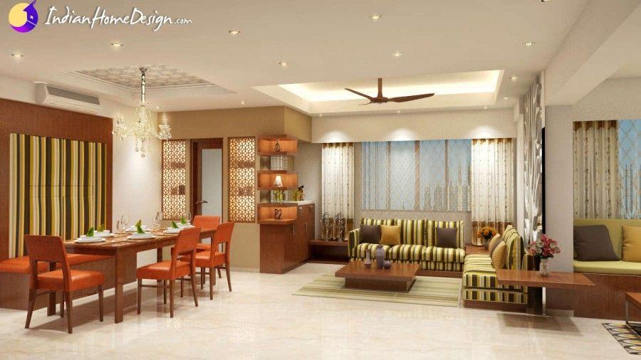 Dataye residence attractive Living cum Dining room design ideas by Nestopia