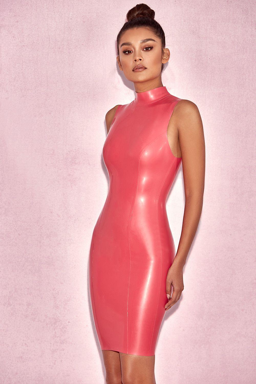 0713b0cbe9 Clothing   Bodycon Dresses    Livana  Bubblegum Pink High Neck Latex Dress