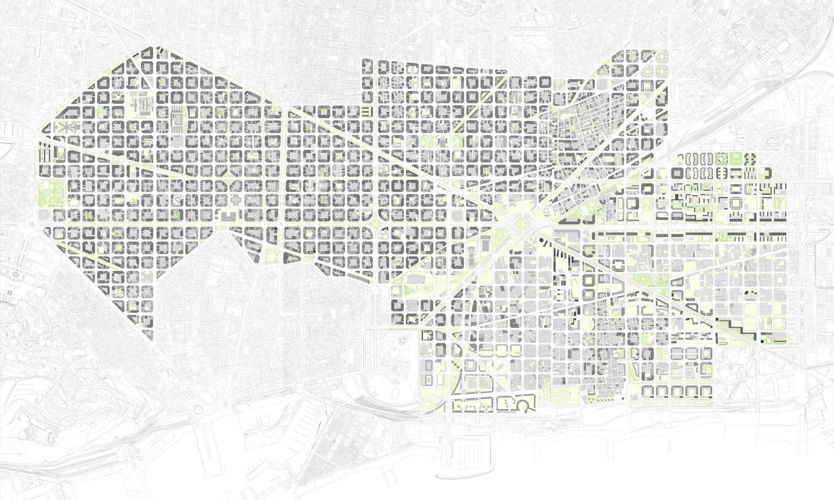 El Eixample Actual Archivo Cerdà Año Cerdà AMEX Pinterest - Barcelona map eixample district