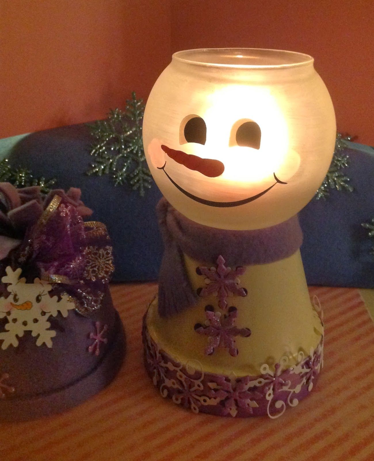 Made From Clay Pots Crafts: Eva's Scraps N' Cards: Snowman Light Or Candy Dish