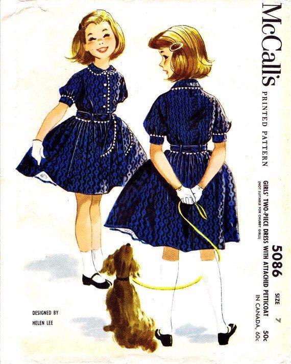 1950s McCall\'s 5086 Pattern Helen Lee Girls Dress Attached Petticoat ...