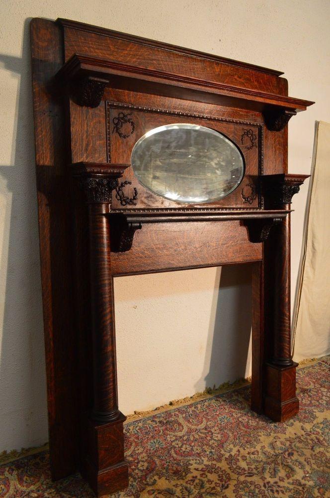 Antique quartersawn tiger oak fireplace mantel beveled for Mantel mirrors