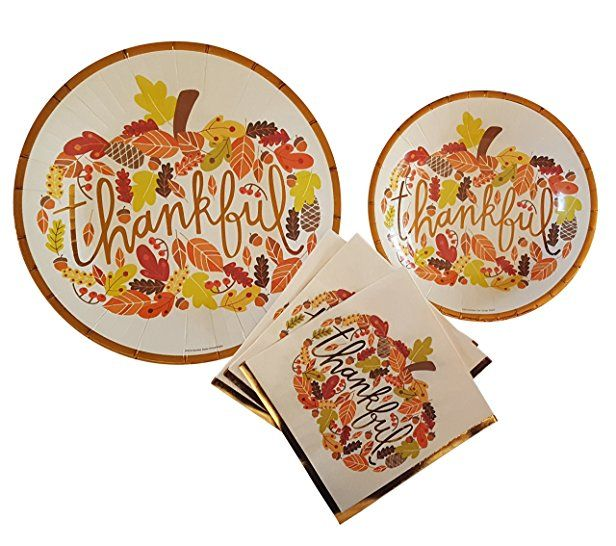 Fall Theme Party Supplies Thankful Pumpkin Thanksgiving Party Supplies 20 count Extra Large Paper Plates  sc 1 st  Pinterest & Fall Theme Party Supplies Thankful Pumpkin Thanksgiving Party ...