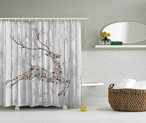 Amazon Christmas Holiday Designers Collection Digital Graphic Print Colorful Reindeer Shower Curtain Non Vinyl Waterproof Resistant W Hooks