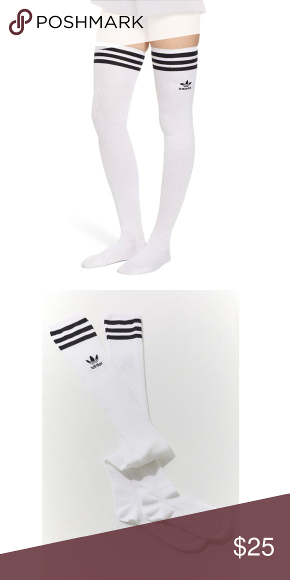 8aeb95323 NWT ADIDAS White Thigh High Sexy Knee Socks Perfect for keeping you warm  now