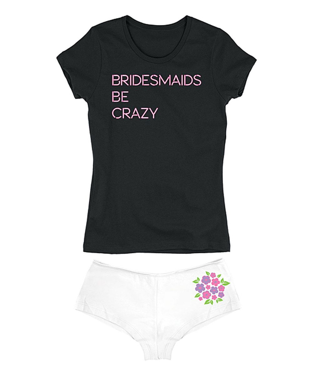 Look at this Black 'Bridesmaids Be Crazy' Neon Sign Tee & White Hipster on #zulily today!