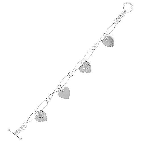 Sterling Silver Hearts Toggle Charm Bracelet, 7.5 inches long * Learn more @ http://www.amazon.com/gp/product/B00LIBV3T2/?tag=passion4fashion003e-20&gh=300716183354