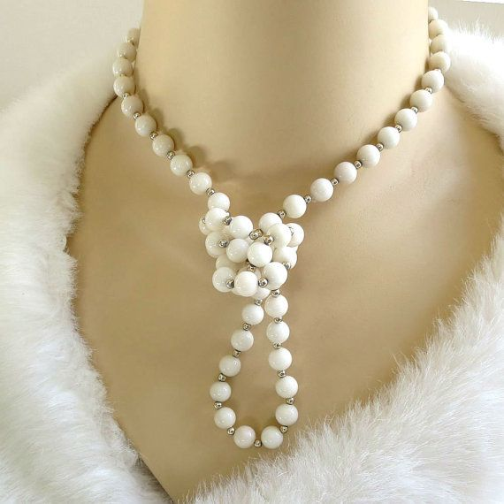 """This is a fabulous Vintage Single Strand White Glass Beads Beaded Necklace!  This piece measures 32"""" from end to end and is in the over-the-head style, with no clasp.  The ... #teamlove #ecochic #vogueteam"""