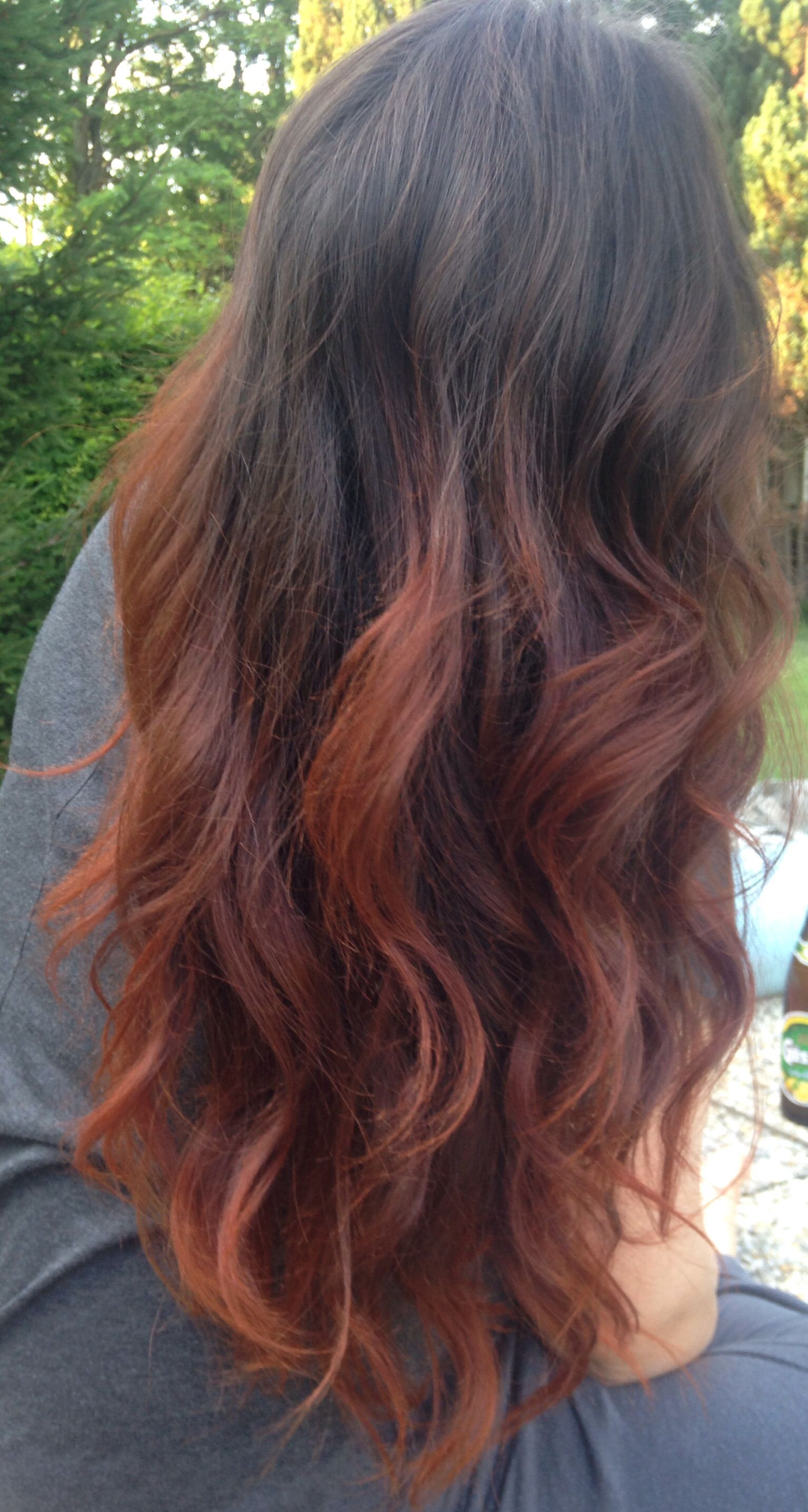 copper ombre dip dye hair