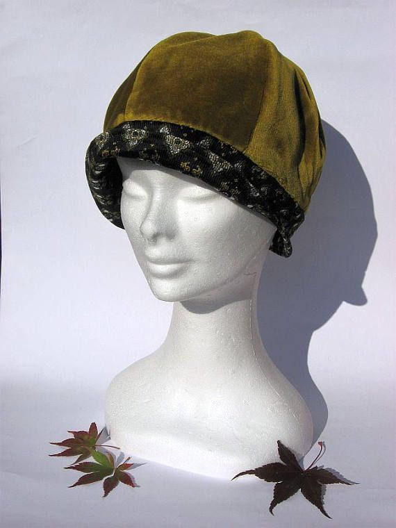 Cappello stile cloche anni 30 dona elegante tessuto velluto 227852db62c9