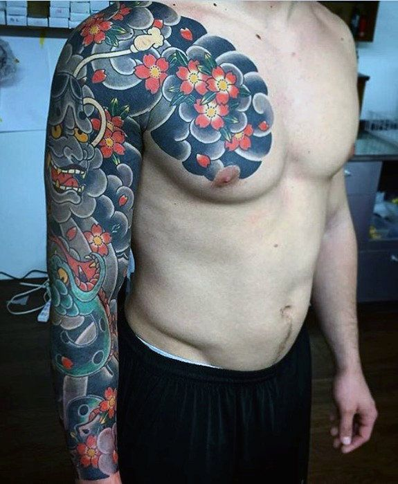 36545e602ad39 50 Japanese Flower Tattoo Designs For Men - Floral Ink Ideas ...