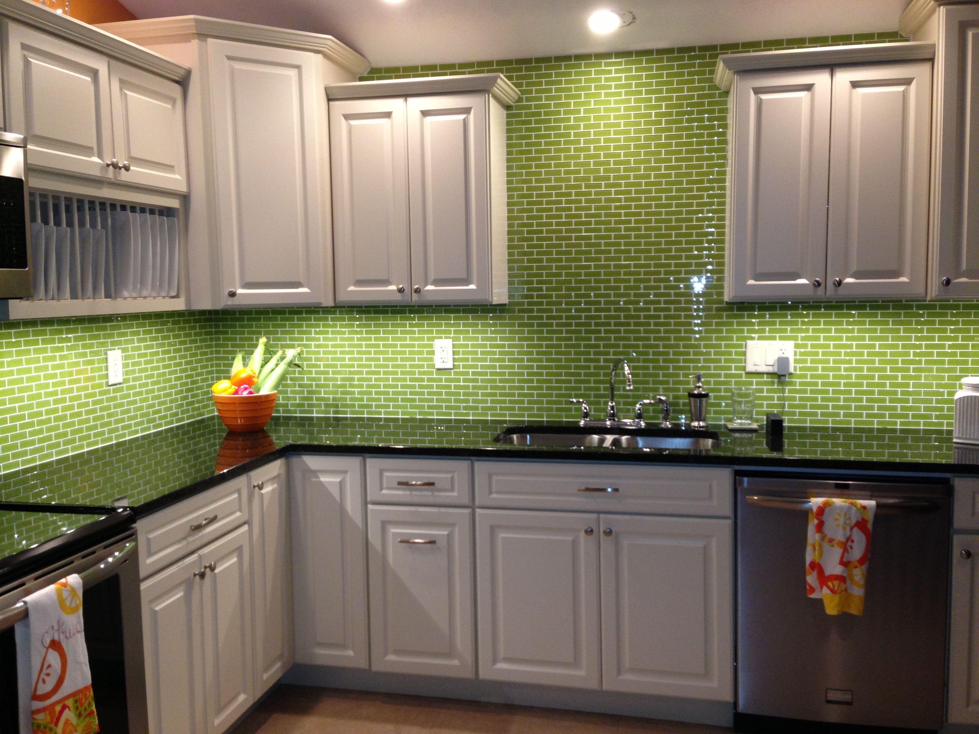 Extraordinary Green Backsplash Tile For Kitchen Green Kitchen