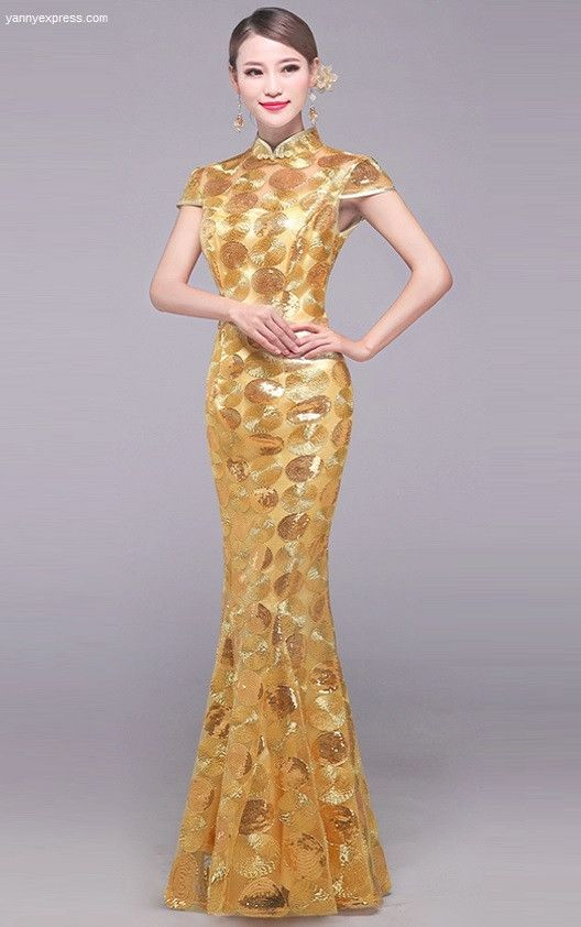 Golden Chinese Wedding Qipao Mermaid Sequin Illusion Gown