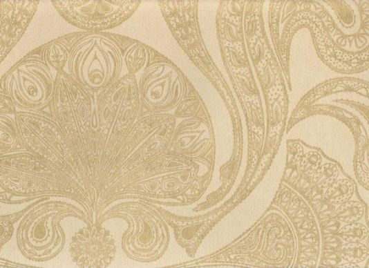 Malabar Wallpaper Gold On Beige Indian Paisley Design Pattern