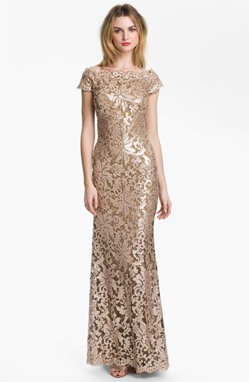 Tadashi Shoji Sequin Lace Off Shoulder Gown available at #Nordstrom ...