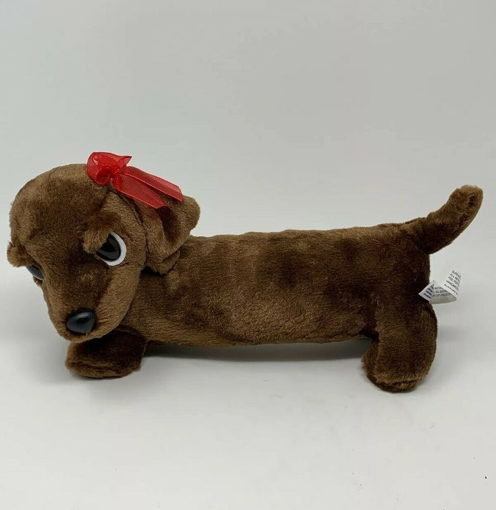 Aurora Plush Brown Dachshund Soft Stuffed Animal Dog 12 Toy Red