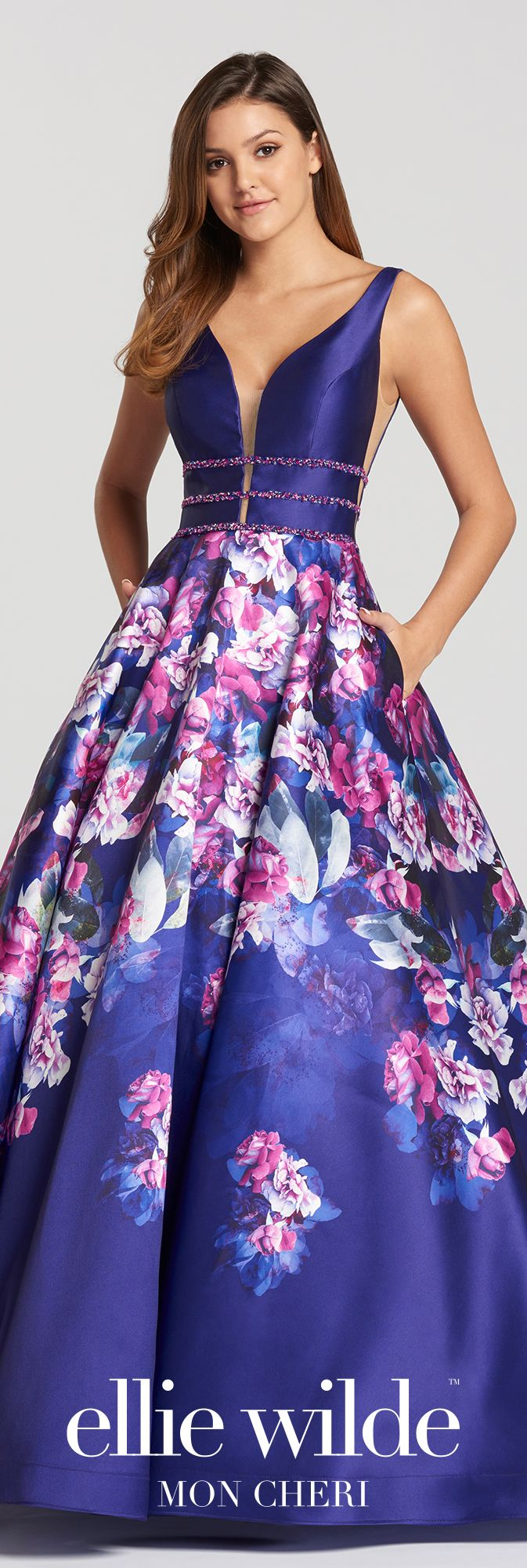 Aline printed mikado prom dress with vneck u pockets ew