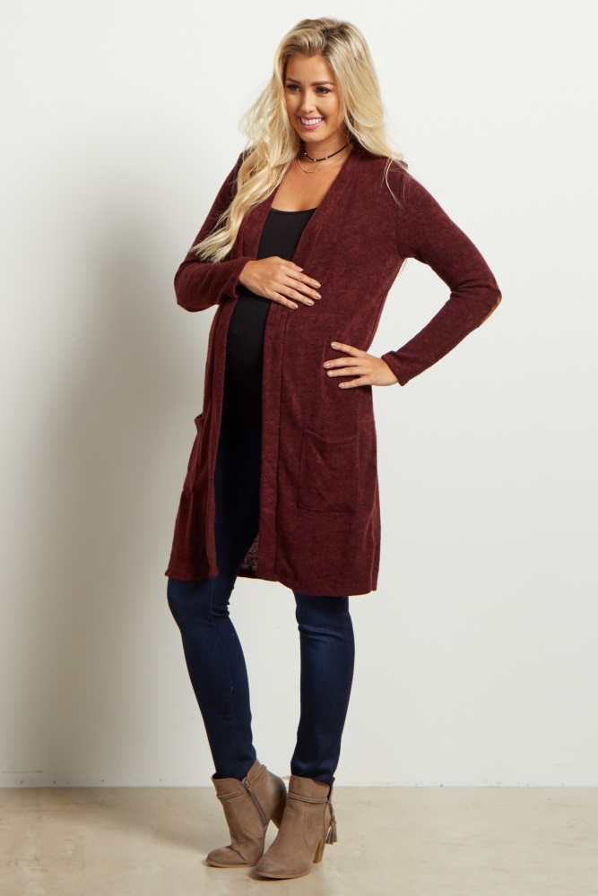 48c9c10a6e7a PinkBlush - Where Fashion Meets Motherhood. Burgundy Solid Knit Elbow Patch  Cardigan