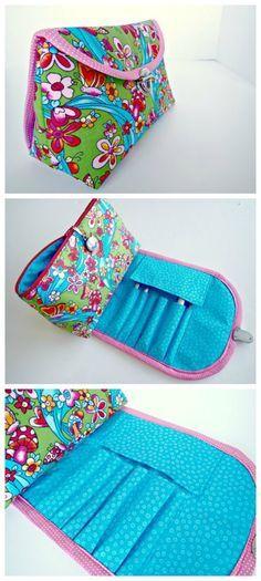 Cosmetics bag with brush roll - video | Taschen anleitungen ...