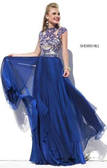 2015 Sherri Hill 1933 Navy Beaded Open-Back Bodice Cap-Sleeves Gown