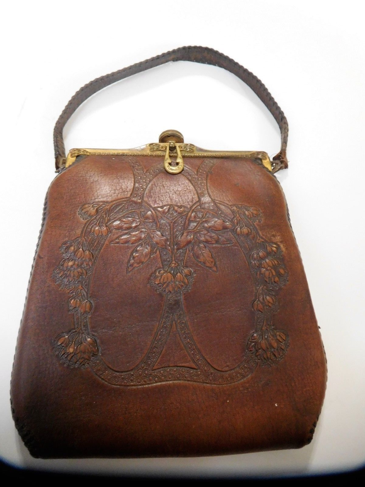 c27823e71d ANTIQUE Early 1900 s Teitzel Tooled Leather Purse Art Deco Vintage Mirror