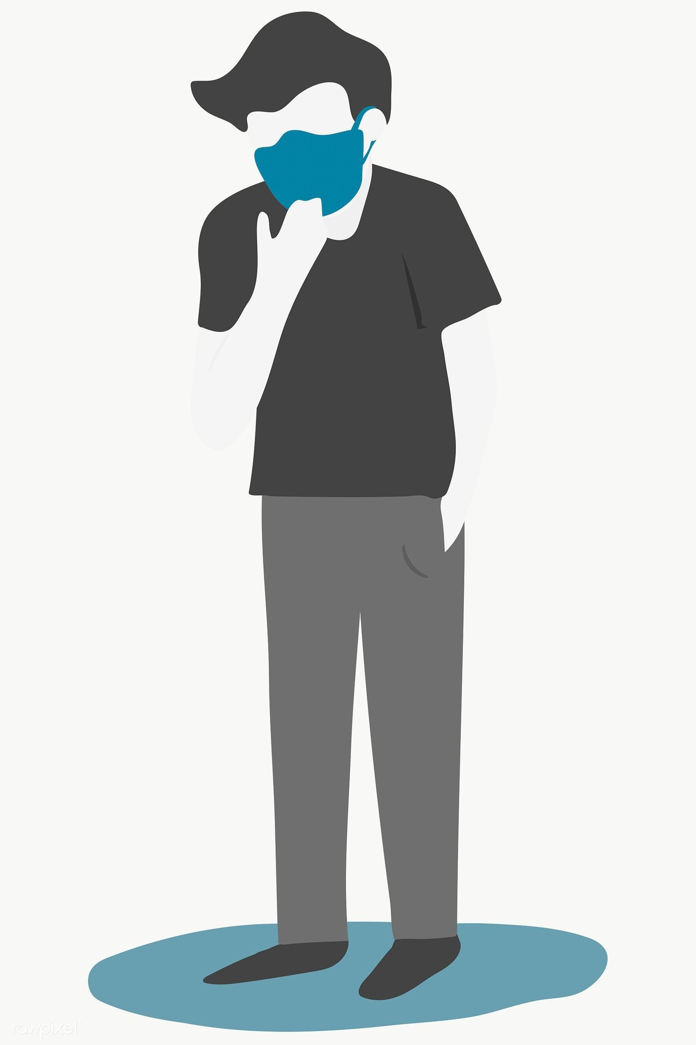 Sick Man Wearing A Protective Face Mask Transparent Png Free Image By Rawpixel Com Techi