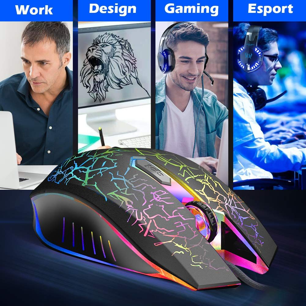 VersionTECH RGB Gaming Mouse, Ergonomic USB Wired Optical
