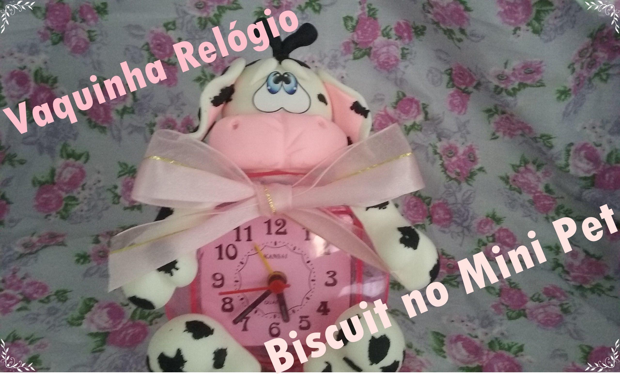 Vaquinha Relógio em Biscuit no Molde Mini Pet