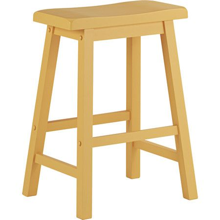 Perfect pulled up to your home bar or breakfast nook, this stool features a saddle back design in yellow.Product: Stool