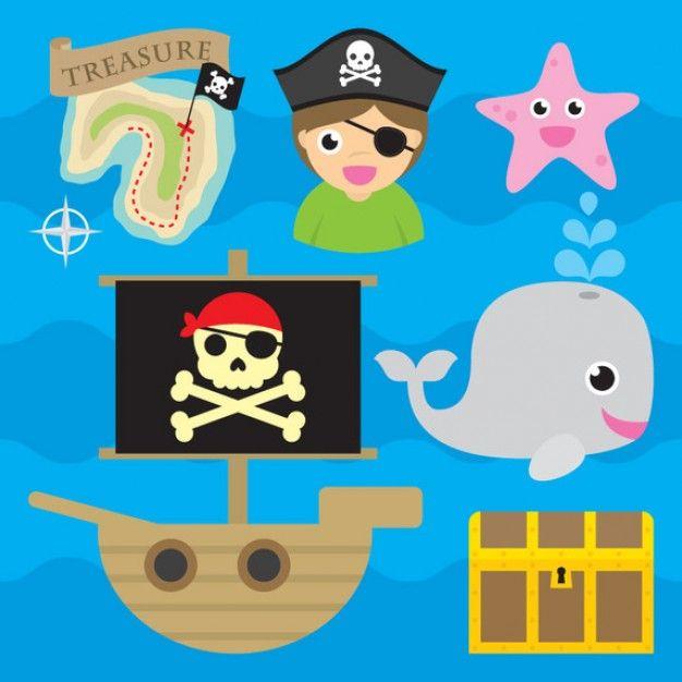 Lindo pirata iconos conjunto de vectores | piratas | Pinterest ...