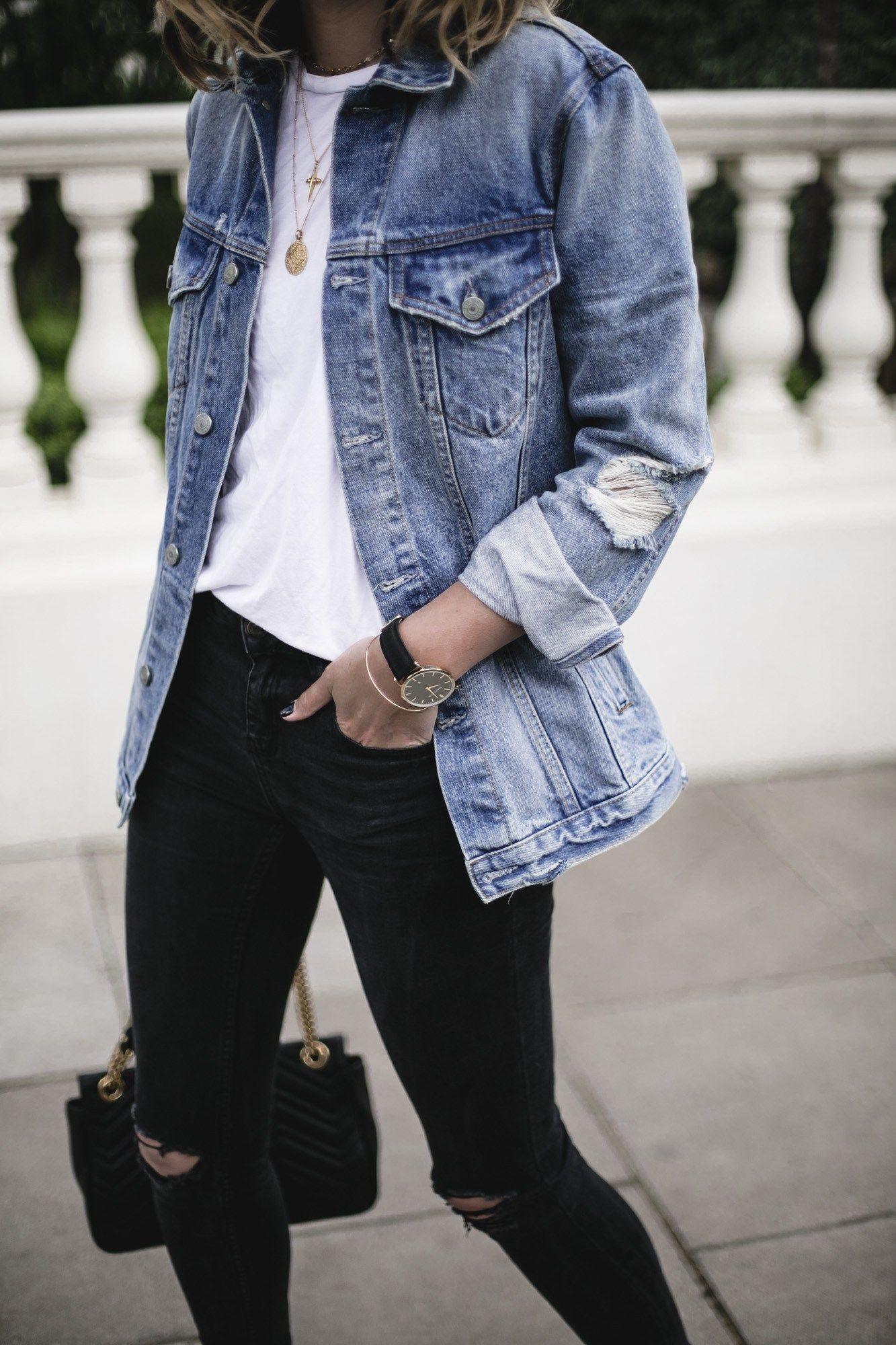 Emma Hill Wears Grlfrnd Oversized Denim Jacket White T Shirt Black Skinny Jeans Gold Jewell Blue Jean Jacket Outfits Denim Jacket Outfit Jean Jacket Outfits [ 2000 x 1333 Pixel ]