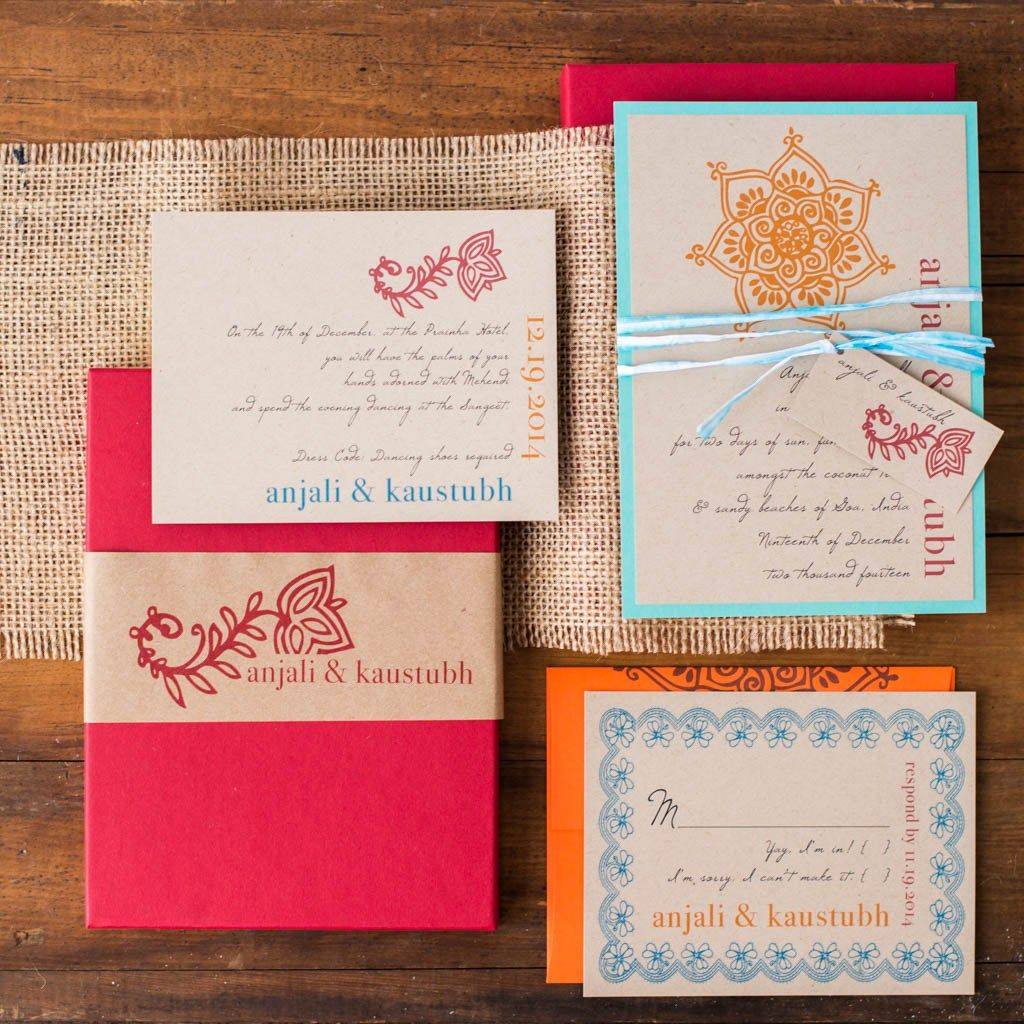 Henna Love Customizable Blue Orange Boxed Wedding Invitations