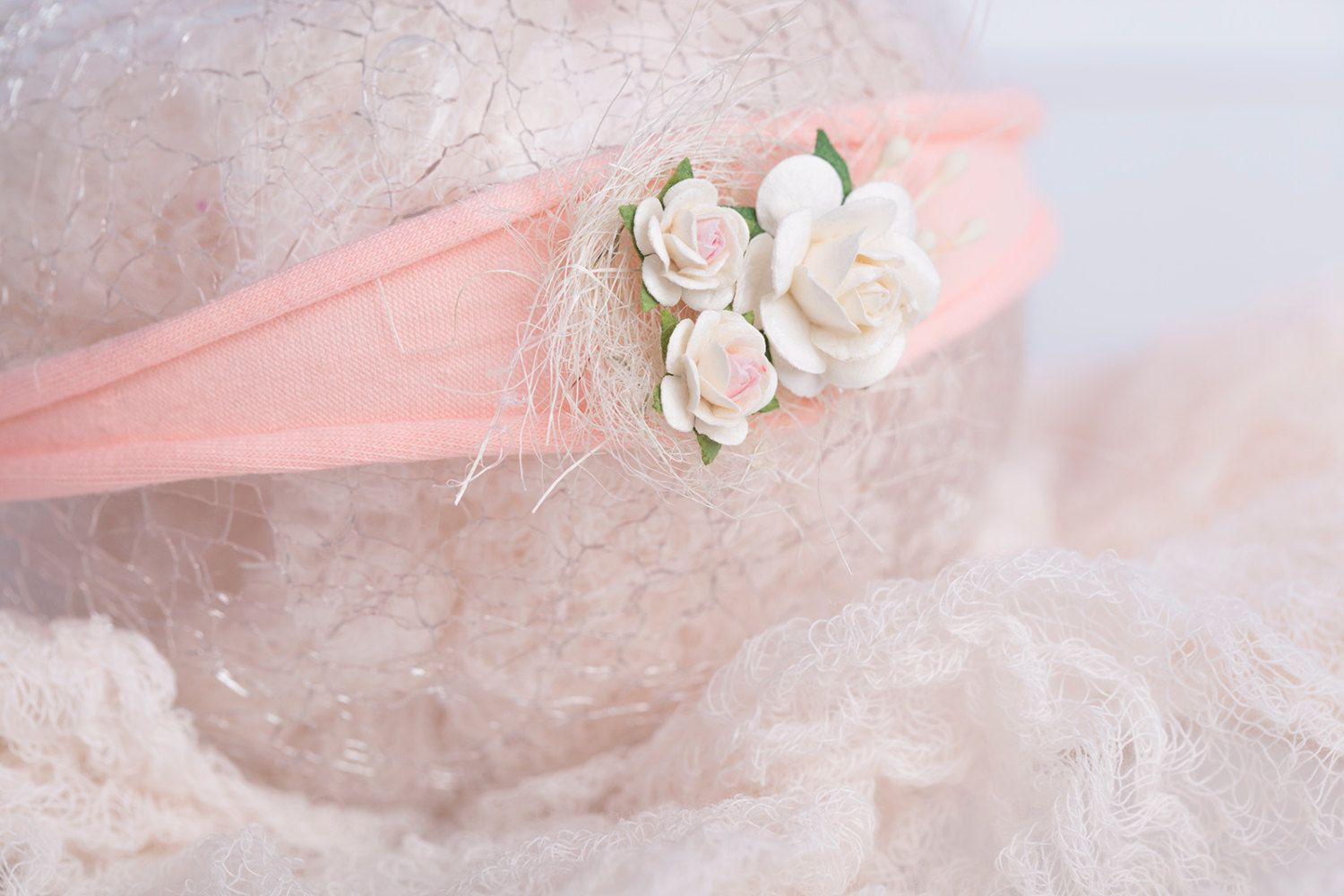 Pink floral nest newborn headband, photography prop, newborn tieback by LReverie on Etsy