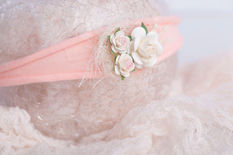 Pink floral nest newborn headband, photography prop, newborn tieback by LReverie on Etsy
