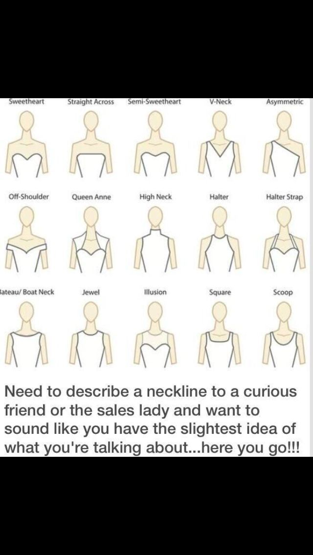 Friday} Decoding Wedding Dress Styles and Necklines If you don't know what your talking about for wedding dresses or any kind of neck line...If you don't know what your talking about for wedding dresses or any kind of neck line...