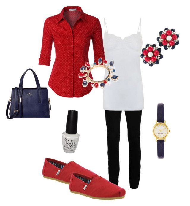 """""""Independence Day"""" by karenbmurphy on Polyvore featuring LE3NO, Topman, TOMS, By Malene Birger, Miriam Haskell, New Directions, Kate Spade and OPI"""