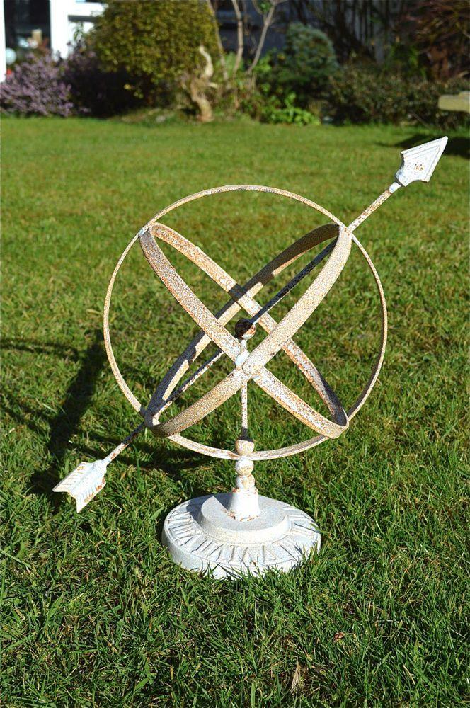 Classic Antique Style Rusty Iron Armillary Sphere Sundial Garden Sculpture
