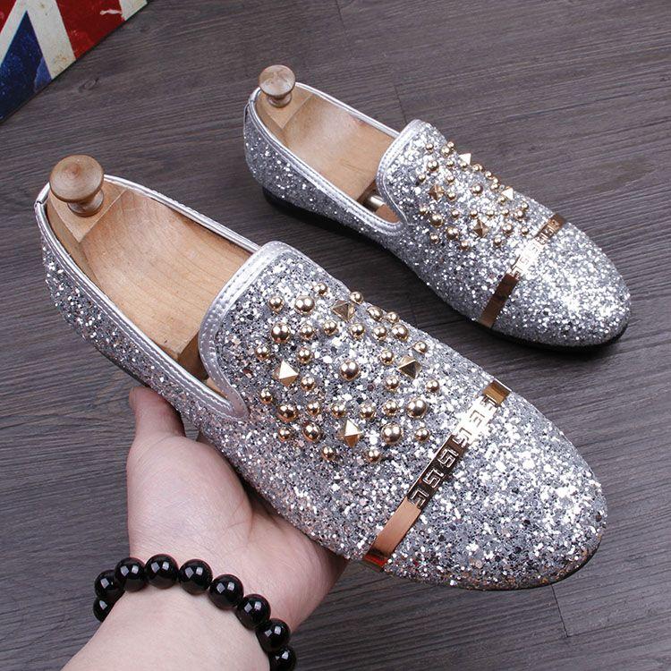 2017 GZ Fashion Men Sequins Casual Shoes designer Luxury Rivet shoes Men  party dress Shoes Zapatillas Deportivas loafers black 0fed4bc764f5