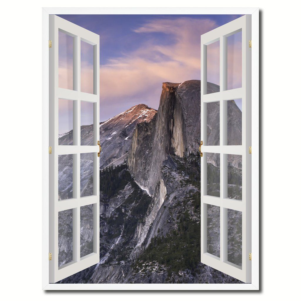 half dome yosemite national park picture 3d french window canvas print with frame gifts home decor wall art collection