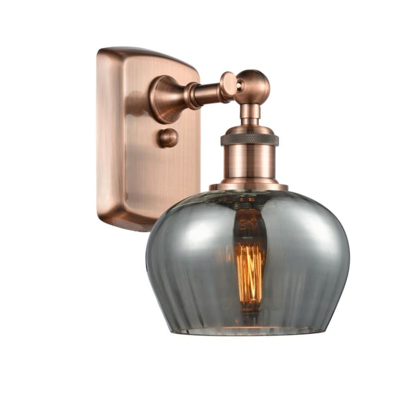 Photo of Innovations Lighting 516-1W Fenton Fenton 11″ Tall Bathroom Sconce Antique Copper / Plated Smoke Indoor Lighting Bathroom Fixtures Bathroom Sconce