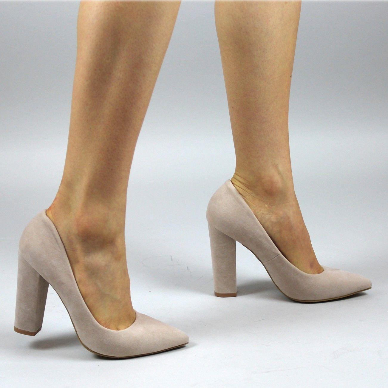 2edddadbfe0 Nude Suede Block Heels