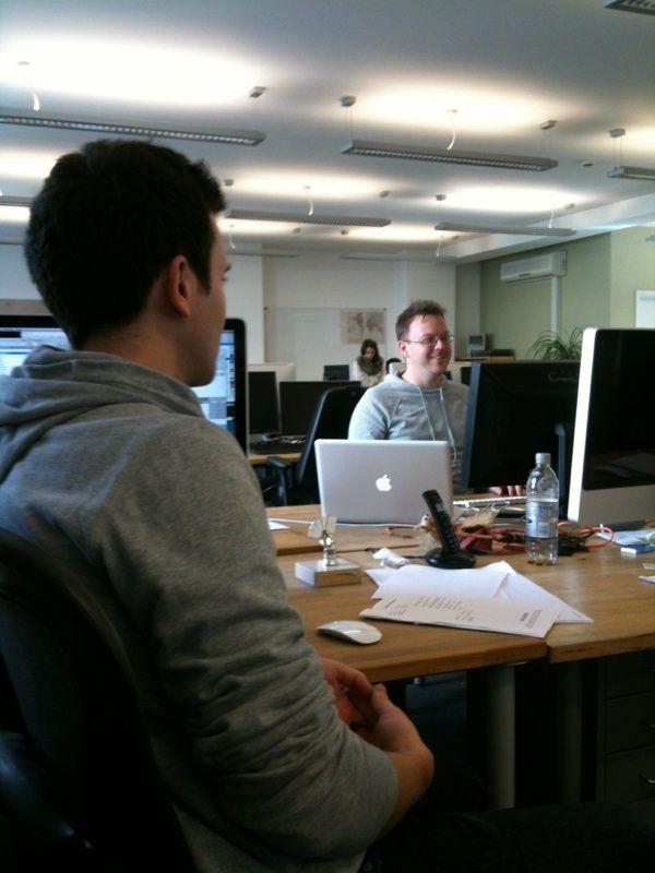 Sam and Simon again in grey 'JLS' looking hoodies