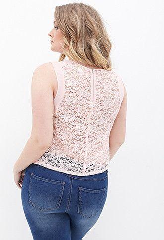 Plus Size Lace Chiffon Paneled Top