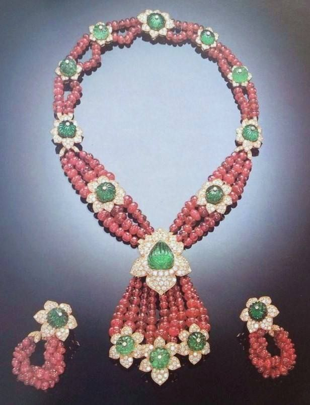 Magnificent Ruby Emerald and Diamond necklace and earrings. From the collection of Begum Salimah Aga Khan.